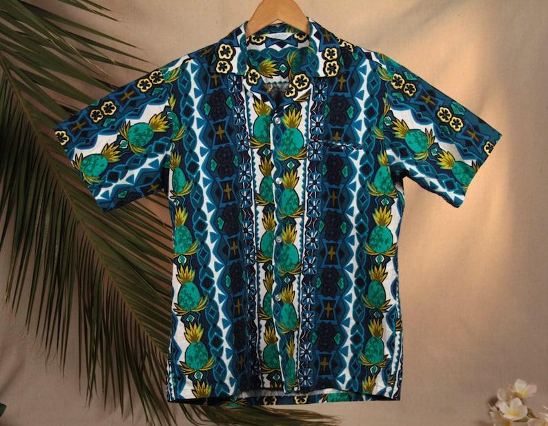 c6bf11c1 Vintage 60's Tropicana Blue Pineapple Men's Hawaiian | Etsy