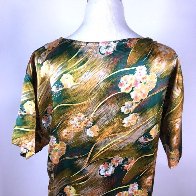 Vintage Green Floral Hawaiian Dress Muumuu