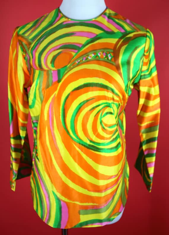 Psychedelic Swirl Patterned Zacuto California Blou