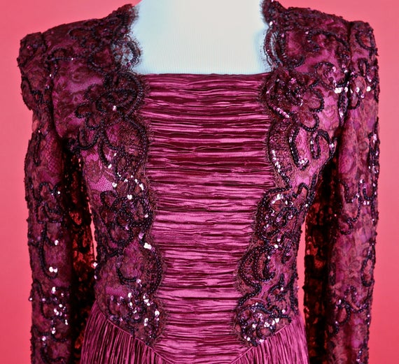 Mary McFadden Couture Burgundy Gown