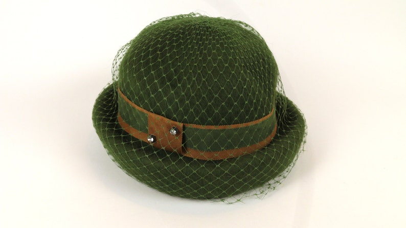 c97b9b4efda Women s Green Felt Bowler Hat with Netting Accent