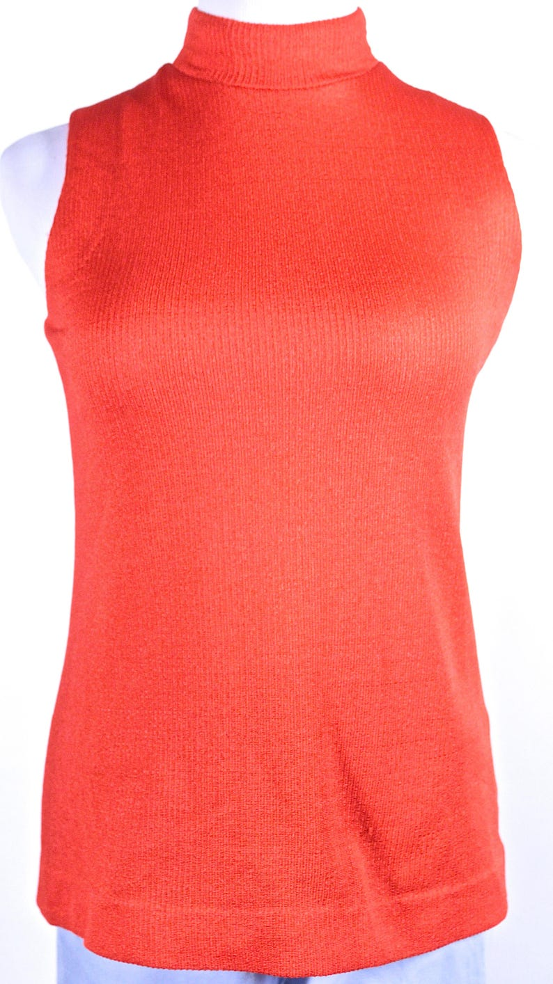 30336e9900f Bright Orange Knit Sleeveless Top made by Hitch Hiker