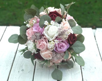 Bespoke Pink rose dusky pink gypsophila string flower corsage wedding bridal boutonniere buttonhole rustic hessian