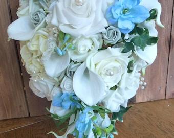 Bespoke Cascading Teardrop Blue white ivory rose calla lily Pearl flower roses wedding bridal bouquet