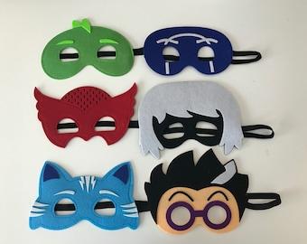 PJ masks and Villains ~ PJ Masks Costume ~ Gekko, Catboy & Owlette birthday party favors, - superhero masks