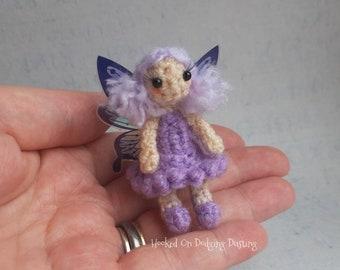 Fairy, purple fairy, rainbow wings, fae, miniature fairy, fairy doll, faerie, desk office friend, mini doll, blythe pet, pullip accessory
