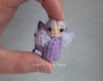 Fairy, purple fairy, pink wings, fae, miniature fairy, fairy doll, faerie, desk office, mini doll, blythe, pullip, bjd pet, butterfly wings