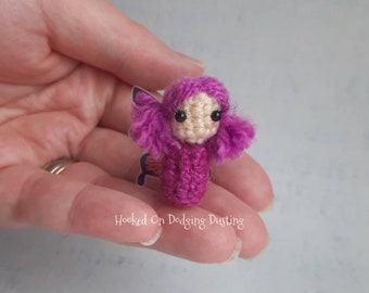 Fairy, purple fairy, fairy wings, fae, miniature fairy, fairy doll, faerie, desk office friend, mini doll, blythe pet, pullip, pink fairy