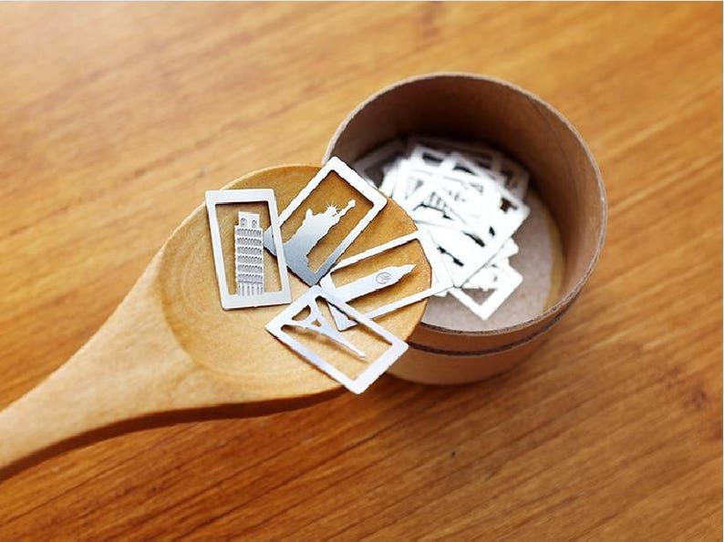 Architectural Element Paper Clips Bookmark Set Metal Cartoon image 0
