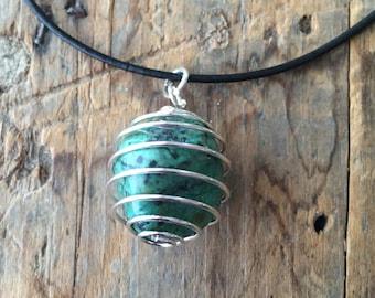 Turquoise Gemstone Pendant on Leather Necklace, Unisex Jewelry, Throat Chakra Stone Charm, Reiki, Hippie Blue Green Crystal, Harmony Stone