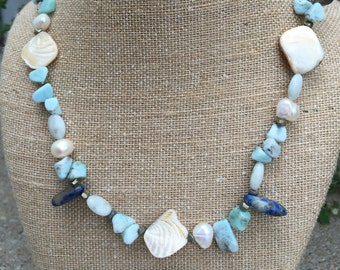 Larimar Necklace with Lapis, Aquamarine, Pearl, Pyrite, Shell, Blue Gemstone Necklace, Organic Necklace, Mermaid's Treasure