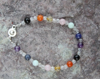 Reiki, Crystal Jewelry, Chakra Bracelet, Yoga Bracelet, Multi Colored Gemstone, Energy Bracelet, Chakra Balancing, Bracelet with Clasp