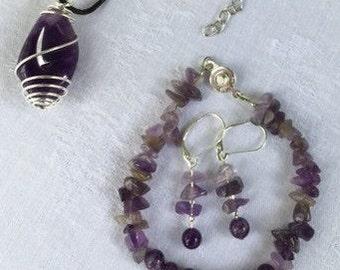Amethyst Jewelry, Gemstone Jewelry Set, Purple Amethyst Pendant on Black Leather Necklace, Amethyst Bracelet, Amethyst Earrings, Wisdom