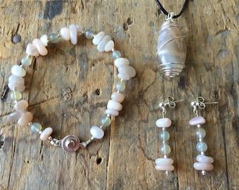Moonstone Jewelry Set, Peach with Grey Moonstone Pendant, Multicolored Moonstone Beaded Bracelet and Earrings, Reiki Chakra Jewelry, Goddess