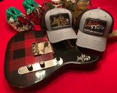 Lucky Dog Guitars Regular Size Light Heather Gray Mesh Trucker Hat with Black and Gold patch Truckstop Outlaw Retro Country Punk