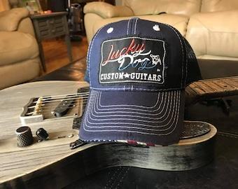 7158e16b958 Lucky Dog Guitars Red White   Blue  Merica Mesh Trucker Ball Cap Hat w   structured crown - Regular size - USA - Buck Owens - Country Music