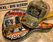 XXL Oversized Lucky Dog Guitars Green MultiCam Camo Mesh Trucker Mesh ball cap - embroidered patch - hat truckstop meshback big size XXL