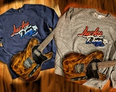 SWEATSHIRT sale! Lucky Dog Guitars - Choose heathered blue or heathered gray - Red White & Blue Distressed logo - High Quality