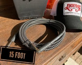 """USA MADE 15ft Lucky Dog Black & Whit """" Dog Leash"""" guitar cable Fat oversized shielded cable rejects noise  Improved Tone and Signal Strength"""