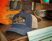 Lucky Dog Guitars faded blue jean mesh trucker cap - cowboy western truckstop vintage jeans smokey bandit custom guitar von dutch