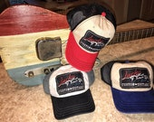 """Lucky Dog Guitars Red White or Blue """"low profile"""" Mesh Trucker Ball Cap Hat non-structured crown - Regular size - Multiple Color Options"""