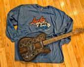 "2020 Lucky Dog long sleeve ""slate blue"" t-shirt — custom guitar guitars rockabilly country blues music"