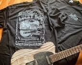Lucky Dog Custom Guitars Eagle Label T-shirt black Guitar Telecaster Ratrod Lightning Greaser Rock-n-Roll flag USA Tennessee outlaw biker