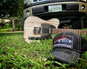 """Lucky Dog Guitars  Black Denim w/ white stitching """"Low crown"""" Trucker mesh Hat with patch Truckstop boots yee-yee  Outlaw vintage cowboy cap"""