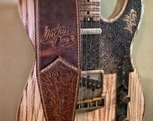 """Lucky Dog """"Elite"""" brown Western tooled handmade leather guitar strap - w/ EXTRA WIDE tail strap- made by hand USA - Satisfaction guaranteed"""