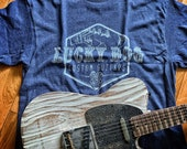Lucky Dog Custom Guitars T-shirt Denim Blue Heathered