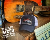 Lucky Dog Guitars trucker mesh cap - Dark blue and white mesh - red white & blue 'merica patch - regular sized