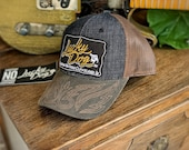 Lucky Dog Guitars denim cowboy stitched Trucker mesh Hat &  patch Truckstop boots rodeo wrangler levis Outlaw Retro Country Punk cap ballcap