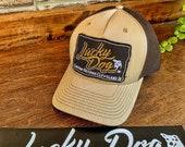 Lucky Dog Guitars Beige with brown mesh Trucker Ball Cap Hat w/ structured crown - Regular size - guitar gear hats accessories