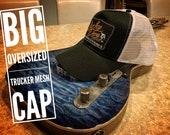 XXL Oversized Lucky Dog Guitars Black / White Mesh Trucker Mesh ball cap - embroidered patch - hat truckstop meshback big size XXL