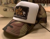 Lucky Dog Guitars Camo and white foam Trucker mesh Hat & patch Truckstop boots rodeo camouflage Outlaw Retro Country music cap ballcap