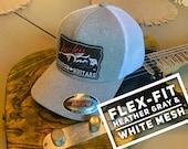 Lucky Dog Guitars Flexfit ball cap Heather gray and white mesh hat truckstop vintage  Stretchy back ballcap flex fit guitar