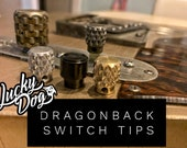 Lucky Dog Dragon-Back Switch Tips - Most aggressive knurled tele / guitar switch on the market!  Aged, blackened and brass