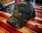 """Lucky Dog Guitars """"old school army camo""""Regular Size Black Mesh Trucker Hat with patch Truckstop Outlaw Retro Country USA Camouflage"""