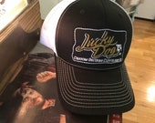 Lucky Dog Guitars Regular Black & White Mesh Trucker Hat with patch Truckstop Outlaw Retro Country Punk embroidered