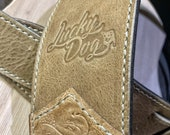 """Lucky Dog """"Elite"""" Bison Western tooled handmade leather guitar strap - w/ EXTRA WIDE tail strap- made by hand USA - Satisfaction guaranteed"""