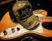 Lucky Dog Guitars Regular Size Camo & Black Mesh Trucker Hat with patch Truckstop Outlaw Retro Country Punk Camouflage