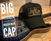 XXL Oversized Lucky Dog Guitars Black / Black Mesh Trucker Mesh ball cap - embroidered patch - hat truckstop meshback big siz3 XXL
