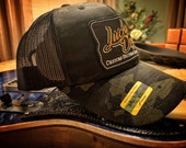 Lucky Dog Guitars Black Multicam Camo Mesh Trucker Ball Cap Hat w/ structured crown - Regular size - USA - camouflage hunting guitar