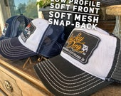 """Lucky Dog Guitars  Low-Profile """"soft"""" cotton Trucker mesh Hat cap with patch Truckstop boots yee-yee outlaw dad mom ponytail country"""