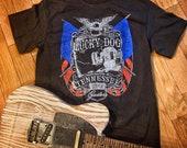 Lucky Dog Custom Guitars USA Eagle Black T-shirt - custom guitar band music concert tee tshirt patriotic