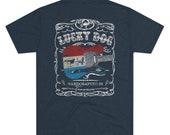 Lucky Dog Guitars (BACK print + Pocket logo) Red White Blue T-shirt Whiskey Label Style Retro Vintage Merica Nashville Guitar Pedal Amp