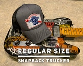 Lucky Dog Guitars charcoal & black mesh Deluxe Trucker Mesh Ball Cap Hat w/ structured crown - Reg. size - USA old school vintage truck stop