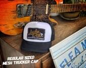 Lucky Dog Guitars trucker mesh cap - white with black bill - truckstop smokey and the bandit guitar custom picks strap