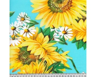 Sunflower Floral Print Cotton Fabric