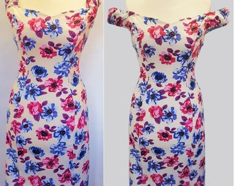 Ready to Ship, Stunning Off the Shoulder, Bardot Dress, in beautiful floral print, Pencil Dress